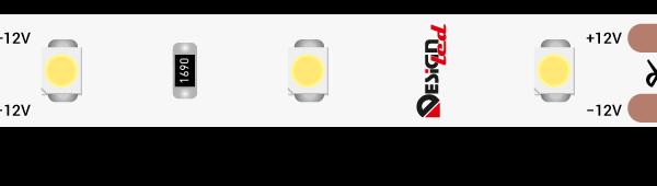 Лента светодиодная LUX, 3528, 60 LED/м, 4,8 Вт/м, 12В, IP65, Теплый белый (2700К)