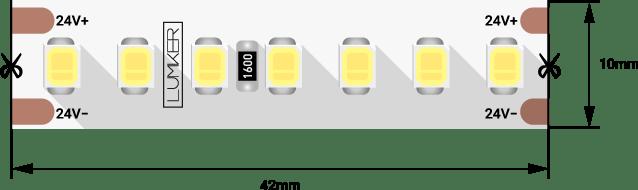 Лента светодиодная LUMKER, 2835, 168 LED/м, 17 Вт/м, 24В, IP33, Нейтральный белый (4000K)