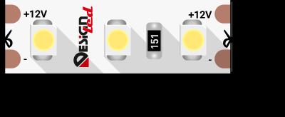 Лента светодиодная LUX, 3528, 120 LED/м, 9,6 Вт/м, 12В, IP33, Холодный белый (6000K)
