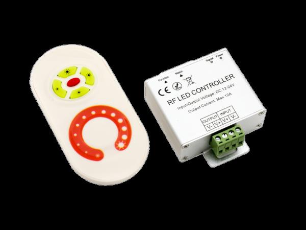 Диммер для одноцветной ленты белый 10A, 12/24 Вольт, RF-DIM-S5-10A