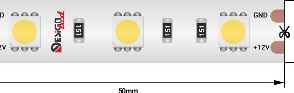 Лента светодиодная LUX, 5050, 60 LED/м, 14,4 Вт/м, 12В, IP65, Теплый белый (2700K)
