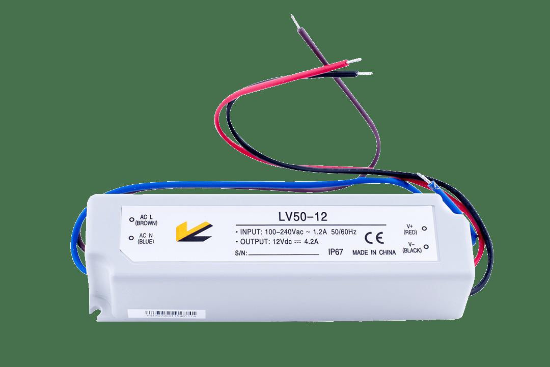 Блок Питания для ленты IP 67 пластик 50 W, 12V