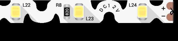 Лента светодиодная стандарт 2835, 60 LED/м, 9 Вт/м, 12В , IP20, Цвет: Ультра холодный белый