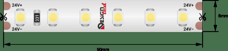 Лента светодиодная LUX, 3528, 120 LED/м, 9,6 Вт/м, 24В, IP65, Теплый белый (2700K)