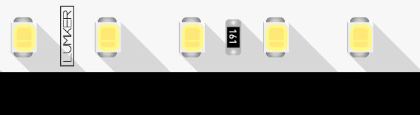 Лента светодиодная LUX, 2835, 98 LED/м, 10 Вт/м, 24В, IP33, Теплый белый (2700K)