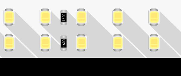 Лента светодиодная LUX, 2835, 196 LED/м, 18 Вт/м, 24В, IP33, Теплый белый (3000K)