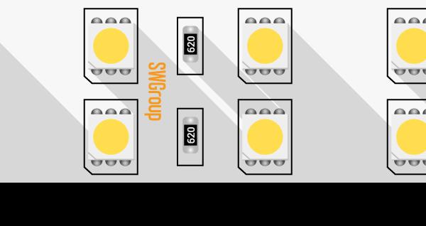 Лента светодиодная стандарт 5050, 120 LED/м, 28,8 Вт/м, 24В , IP20, Цвет: Теплый белый