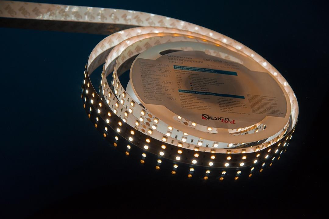 Лента светодиодная LUX, 5050, 120 LED/м, 28,8 Вт/м, 24В, IP33, Теплый белый + холодный белый (3000+6000K)