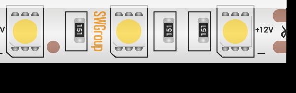 Лента светодиодная стандарт 5050, 60 LED/м, 14,4 Вт/м, 12В , IP65, Цвет: Теплый белый