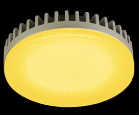 Ecola GX53   LED color  6,1W Tablet 220V Yellow Желтый матовое стекло 28×74