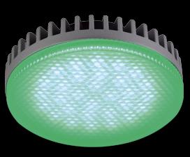 Ecola GX53 LED color 6,1W Tablet 220V Green Зеленый матовый поликарбонат (ребристый алюм. радиатор) 28×74