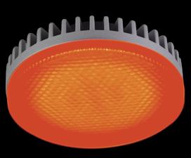 Ecola GX53 LED color 6,1W Tablet 220V Red Красный матовый поликарбонат (ребристый алюм. радиатор) 28×74