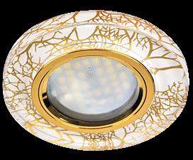 Ecola MR16 DL1650 GU5.3 Glass Стекло Круг Золото на белом / Золото 25×95 (кd74)