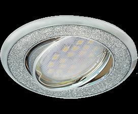 Ecola MR16 DL39S GU5.3 Светильник встр. поворотный Круг под стеклом Серебряный блеск/Хром 26×94