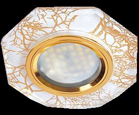 Ecola MR16 DL1652 GU5.3 Glass Стекло 8-угольник с прямыми гранями Золото на белом / Золото 25×90 (кd