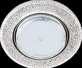 """Ecola GX53 H4 LD7069 Светильник встр. искристый с подсветкой """"Модерн"""" Прозрачный / Хром 35×125 (к+)"""