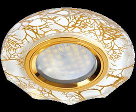 Ecola MR16 DL1653 GU5.3 Glass Стекло Круг с вогнутыми гранями Золото на белом / Золото 25×90 (кd74)