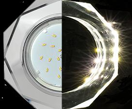 Ecola GX53 H4 LD5312 Glass Стекло 8-угольник с прямыми гранями с подсветкой  хром — хром (зеркальный