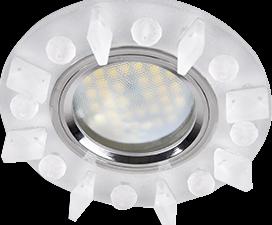 Ecola MR16 DL1661 GU5.3 Glass Стекло Круг с квадратными матовыми стразами /фон мат./центр.часть хром