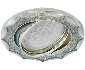 Ecola MR16 DL36S GU5.3 Светильник встр. поворотный Звезда под стеклом Серебряный блеск/Хром 26×84