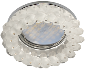 Ecola MR16 CD4141 GU5.3 Светильник встр. круглый с хрусталиками Матовый/Хром 50×90 (кd74)