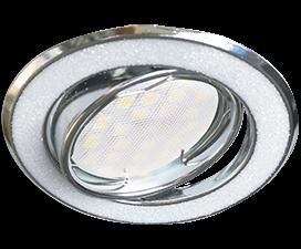 Ecola MR16 DL39S GU5.3 Светильник встр. поворотный Круг под стеклом Белый блеск/Хром 26×94