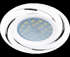 Ecola MR16 DL3181 GU5.3 Светильник встр. литой (скрытый крепеж лампы) Белый/Алюм Вихрь 23×78 (кd74)