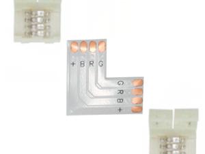 Ecola LED strip connector комплект L гибкая соед. плата + 2 зажимных разъема 4-х конт. 10 mm