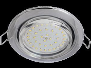 Ecola Light GX53 H4 LED светильник Хром встр.без рефл. с лампой GX53 LED 4,2W 2800К прозр.стекло 38×106