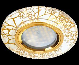 Ecola MR16 DL1654 GU5.3 Glass Стекло Круг граненый Золото на белом / Золото 25×90 (кd74)