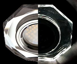 Ecola MR16 LD1652 GU5.3 Glass Стекло с подсветкой 8-угольник с прямыми гранями Хром / Хром 25×90 (кd