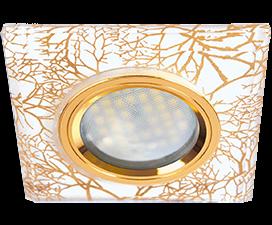 Ecola MR16 DL1651 GU5.3 Glass Стекло Квадрат скошенный край Золото на белом / Золото 25x90x90 (кd74)