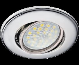 Ecola MR16 DH03 GU5.3 Светильник встр. поворотный выпуклый (скрытый крепеж лампы) Хром 25×88