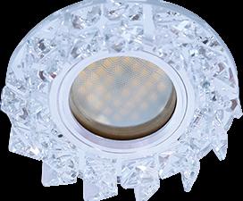 Ecola MR16 DL1661 GU5.3 Glass Стекло Круг с крупными прозр. стразами Елочка/фон зерк./центр.часть хр