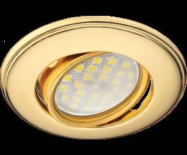 Ecola MR16 DH03 GU5.3 Светильник встр. поворотный выпуклый (скрытый крепеж лампы) Золото 25×88