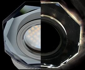 Ecola MR16 LD1652 GU5.3 Glass Стекло с подсветкой 8-угольник с прямыми гранями Черный / Черный хром