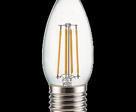 Ecola candle   LED Premium  6,0W  220V E27 2700K 360° filament прозр. нитевидная свеча (Ra 80, 100 L