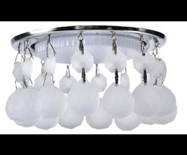 Ecola GX53 H4 5346 Glass Круглый с большими хрусталиками на прямом подвесе  Матовый /Хром 90×110 (к+