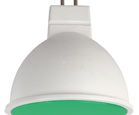 Ecola MR16   LED color  7,0W  220V GU5.3 Green Зеленый матовое стекло (композит) 47х50