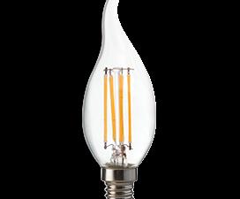 Ecola candle   LED Premium  6,0W  220V E14 4000K 360° filament прозр. нитевидная свеча на ветру (Ra