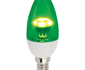 Ecola candle   LED color 3.0W 220V E14  Green Зеленая прозрачная свеча искристая пирамида  98×36