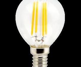 Ecola globe   LED  5,0W G45 220V E14 2700K 360° filament прозр. нитевидный шар (Ra 80, 100 Lm/W) 78х