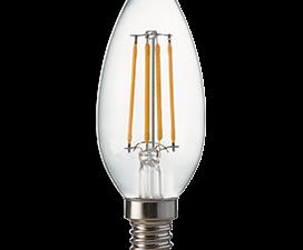 Ecola candle   LED Premium  6,0W  220V E14 4000K 360° filament прозр. нитевидная свеча (Ra 80, 100 L