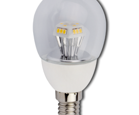 Ecola globe   LED  4,2W G45 220V E14 2700K прозрачный шар искристая пирамида 90×45