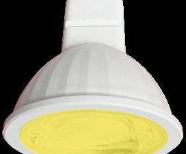 Ecola MR16   LED color  9,0W  220V GU5.3 Yellow Желтый (насыщенный цвет) прозрачное стекло (композит