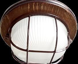 Ecola GX53 LED НБО-03-60-022 светильник Круг накладной IP65 дерево Орех 1*GX53 матовый с решеткой 22