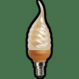 Ecola candle 9W DEA/FTG 220V E14 витая золотистая свеча на ветру 125х39