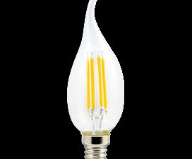 Ecola candle   LED Premium  5,0W  220V E14 4000K 360° filament прозр. нитевидная свеча на ветру (Ra