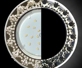 Ecola GX53 H4 LD5360 Glass Круг с  прозр. стразами Корона с подсветкой (оправа хром)/фон зерк../цент