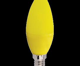 Ecola candle   LED color  6,0W 220V E14 Yellow свеча Желтая матовая колба 103×37